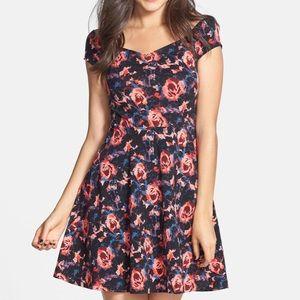 Frenchi - Black & Floral Skater Dress.